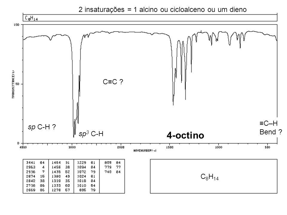 4-octino 2 insaturações = 1 alcino ou cicloalceno ou um dieno C≡C