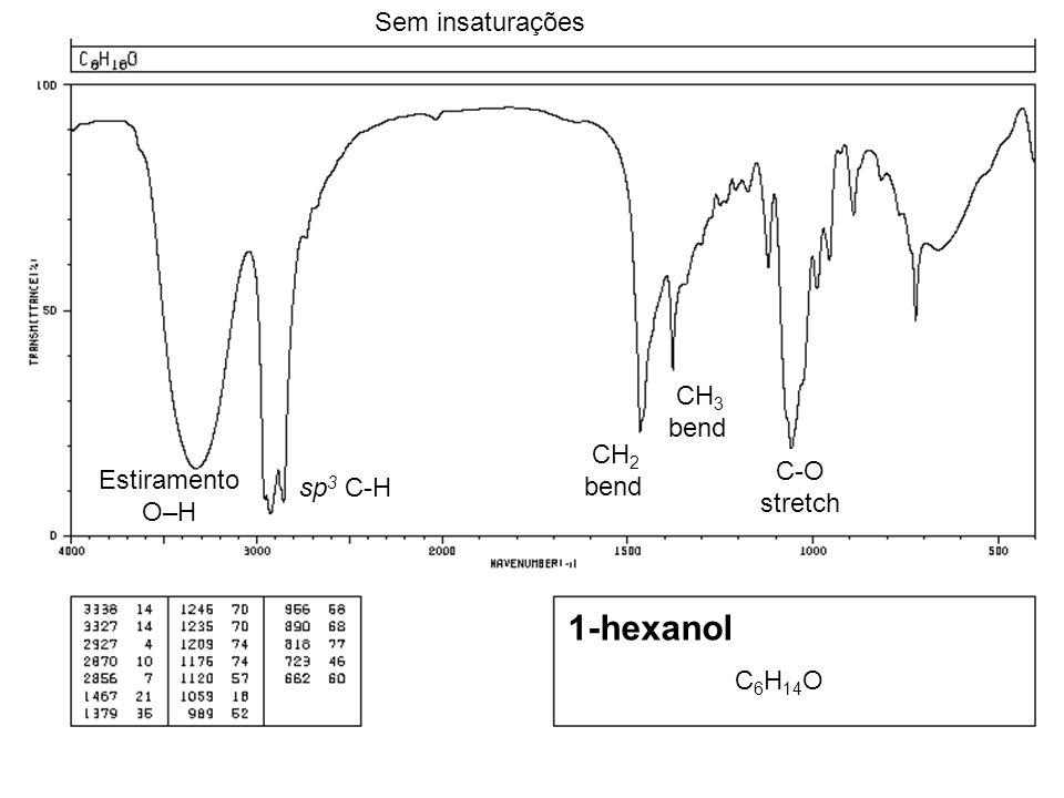 1-hexanol Sem insaturações CH3 bend CH2 bend C-O Estiramento sp3 C-H