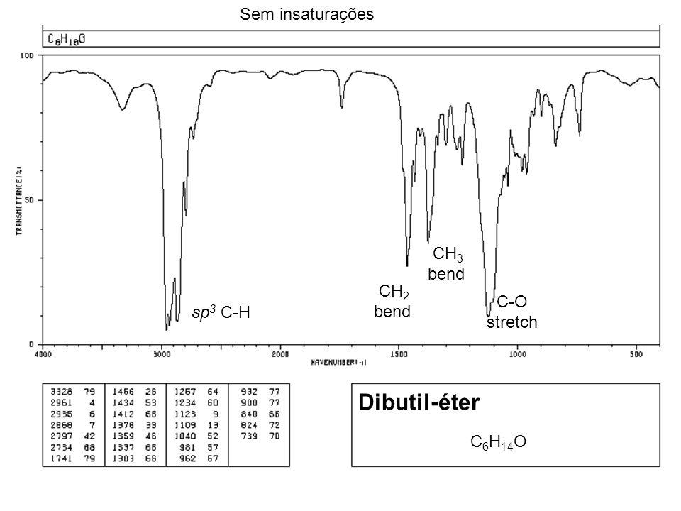 Dibutil-éter Sem insaturações CH3 bend CH2 bend C-O sp3 C-H stretch