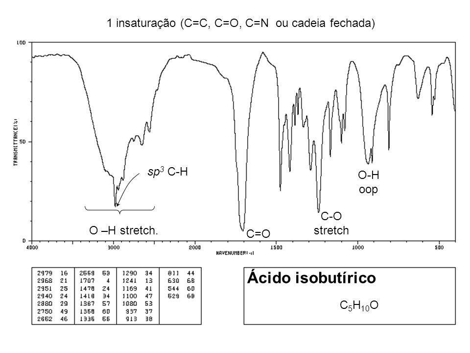 Ácido isobutírico 1 insaturação (C=C, C=O, C=N ou cadeia fechada)