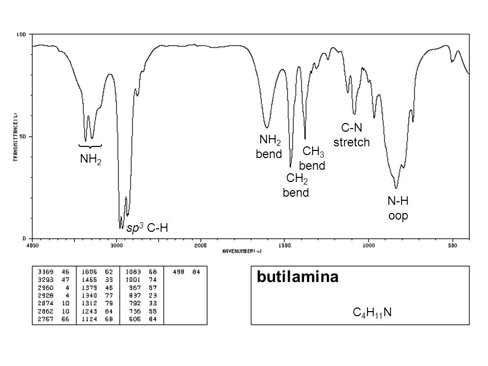 butilamina C-N stretch NH2 bend CH3 bend NH2 CH2 bend N-H oop sp3 C-H