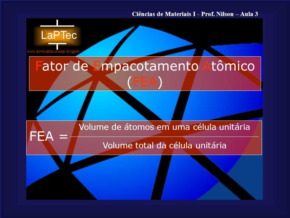 Fator de Empacotamento Atômico (FEA)