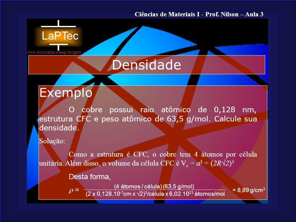 Densidade Exemplo. O cobre possui raio atômico de 0,128 nm, estrutura CFC e peso atômico de 63,5 g/mol. Calcule sua densidade.