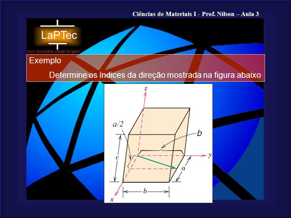 Exemplo Determine os índices da direção mostrada na figura abaixo b a/2