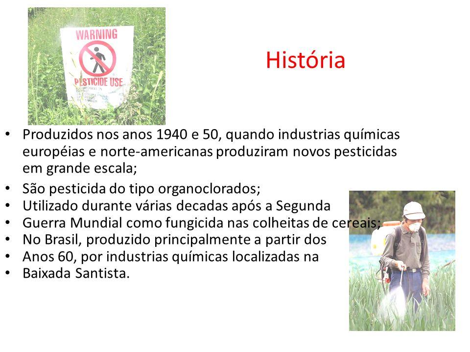 História Produzidos nos anos 1940 e 50, quando industrias químicas européias e norte-americanas produziram novos pesticidas em grande escala;