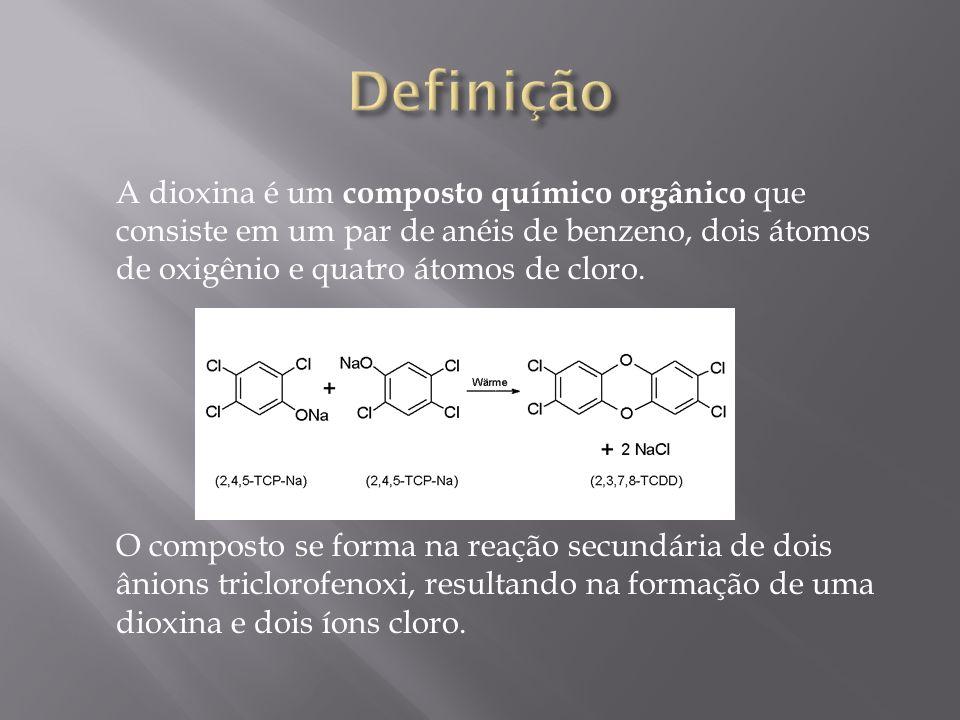 Definição A dioxina é um composto químico orgânico que consiste em um par de anéis de benzeno, dois átomos de oxigênio e quatro átomos de cloro.
