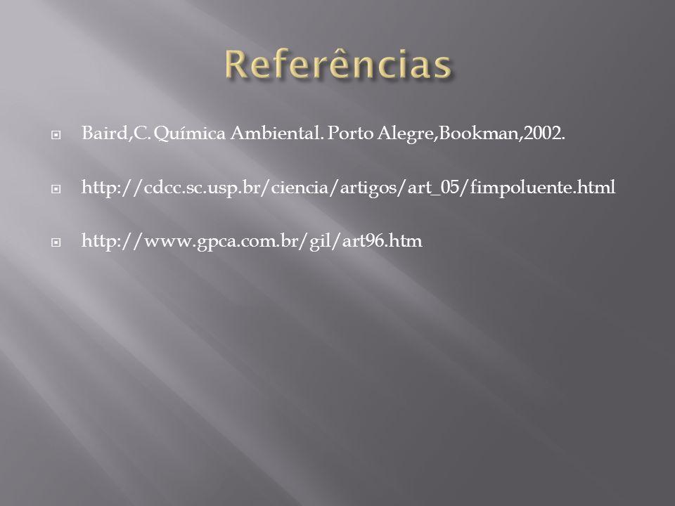 Referências Baird,C. Química Ambiental. Porto Alegre,Bookman,2002.