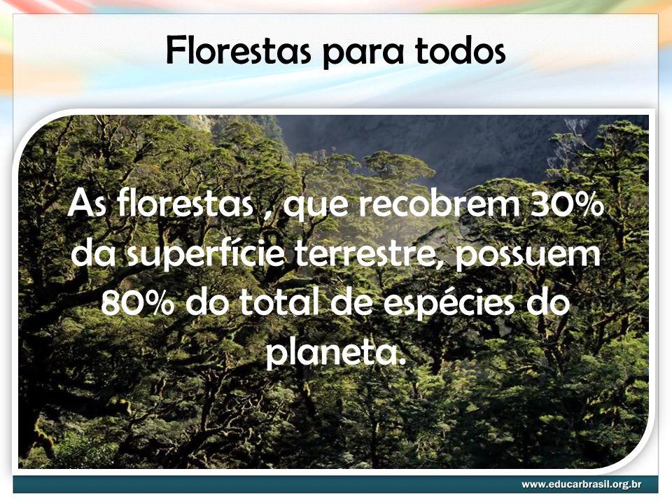 Florestas para todos As florestas , que recobrem 30% da superfície terrestre, possuem 80% do total de espécies do planeta.