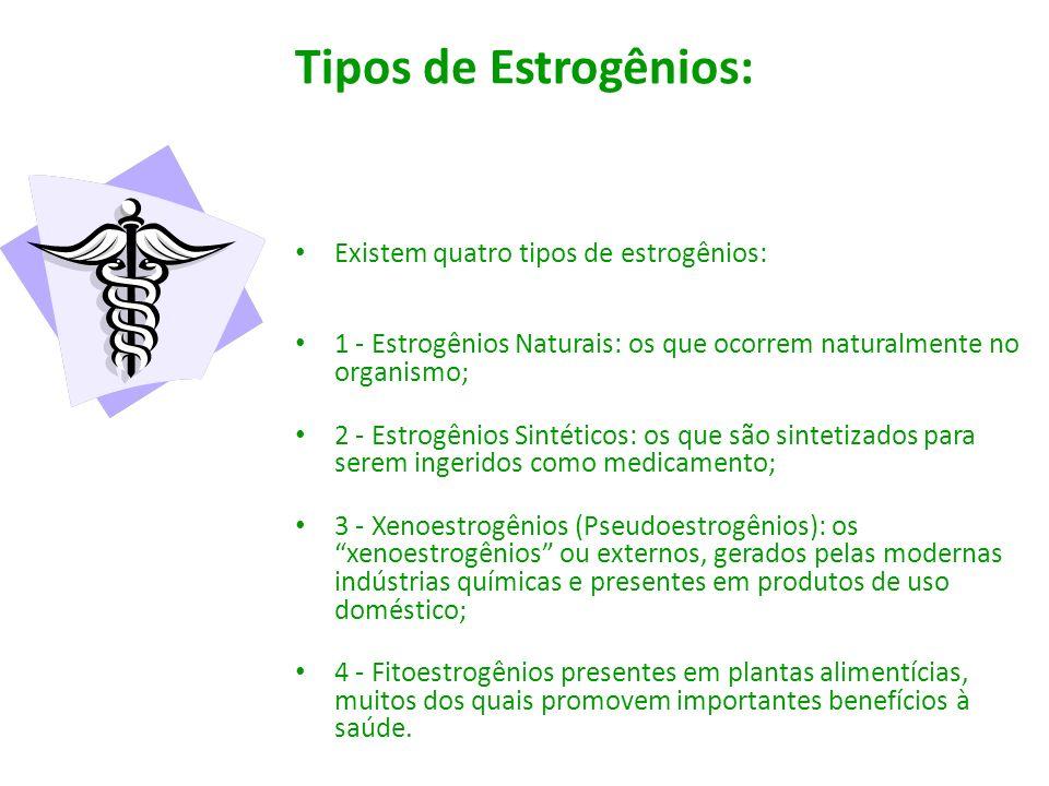 Tipos de Estrogênios: Existem quatro tipos de estrogênios: