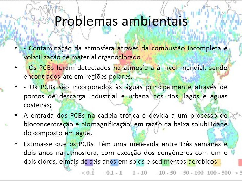 Problemas ambientais - Contaminação da atmosfera através da combustão incompleta e volatilização de material organoclorado.