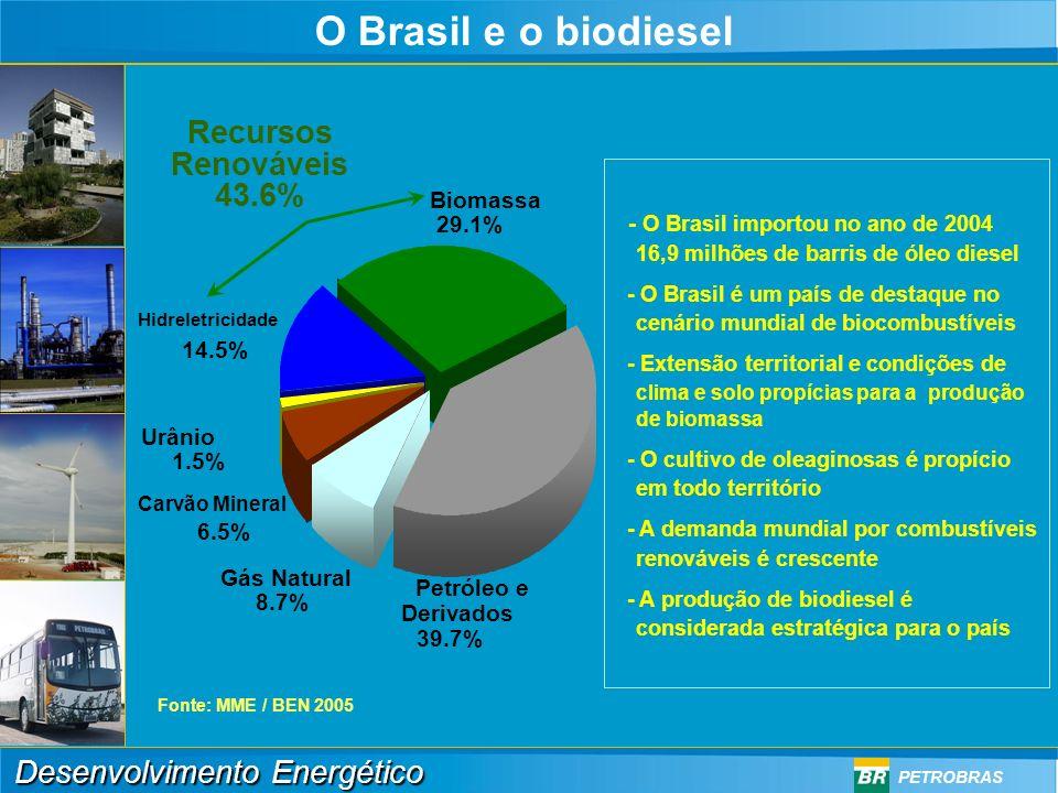 O Brasil e o biodiesel Recursos Renováveis 43.6%