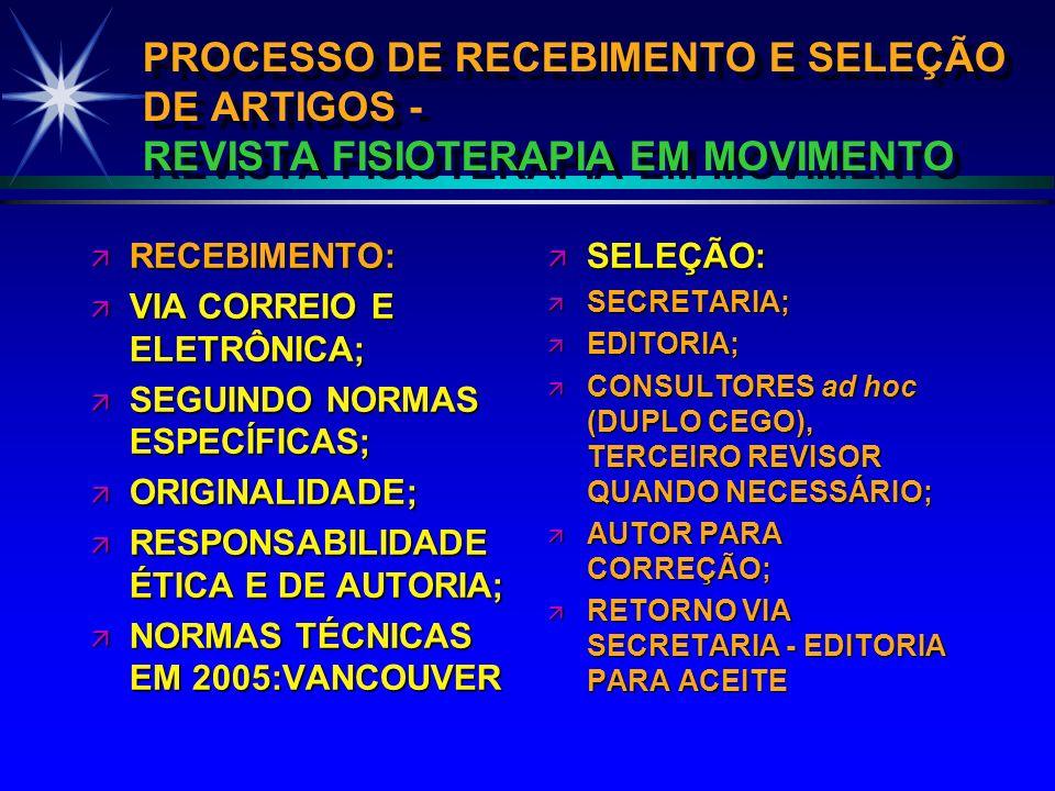 PROCESSO DE RECEBIMENTO E SELEÇÃO DE ARTIGOS - REVISTA FISIOTERAPIA EM MOVIMENTO