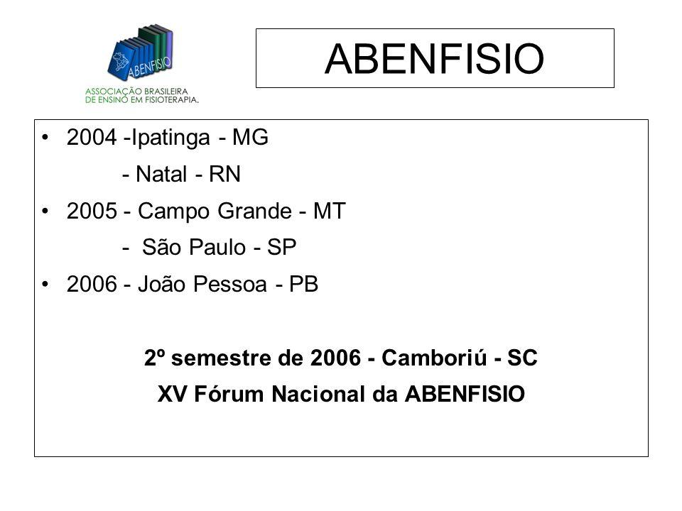 2º semestre de 2006 - Camboriú - SC XV Fórum Nacional da ABENFISIO