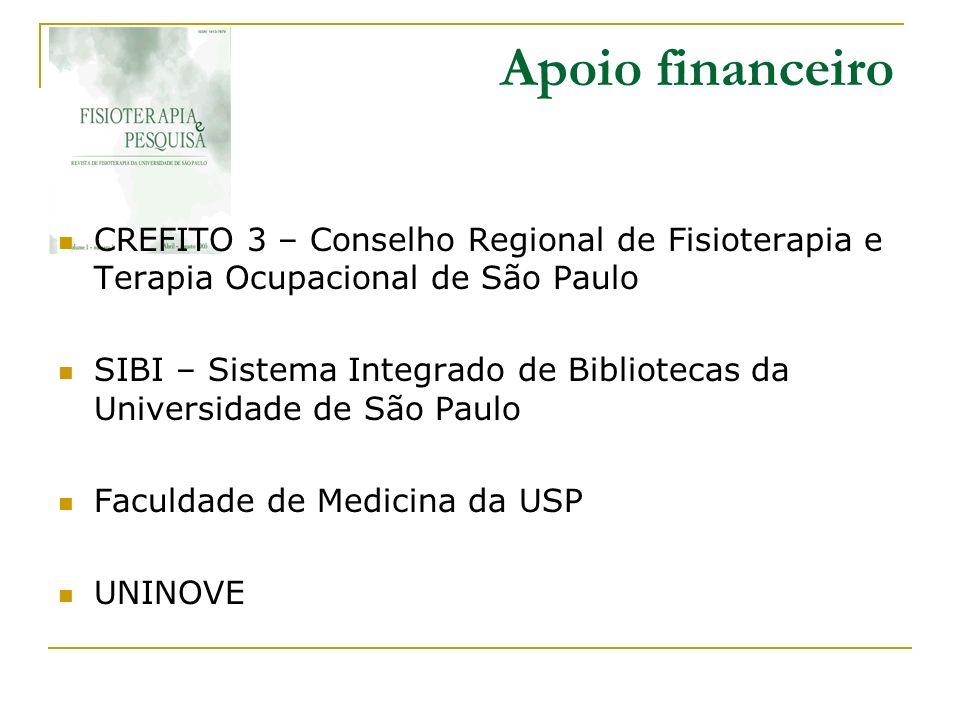 Apoio financeiro CREFITO 3 – Conselho Regional de Fisioterapia e Terapia Ocupacional de São Paulo.