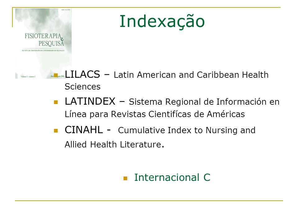 Indexação LILACS – Latin American and Caribbean Health Sciences