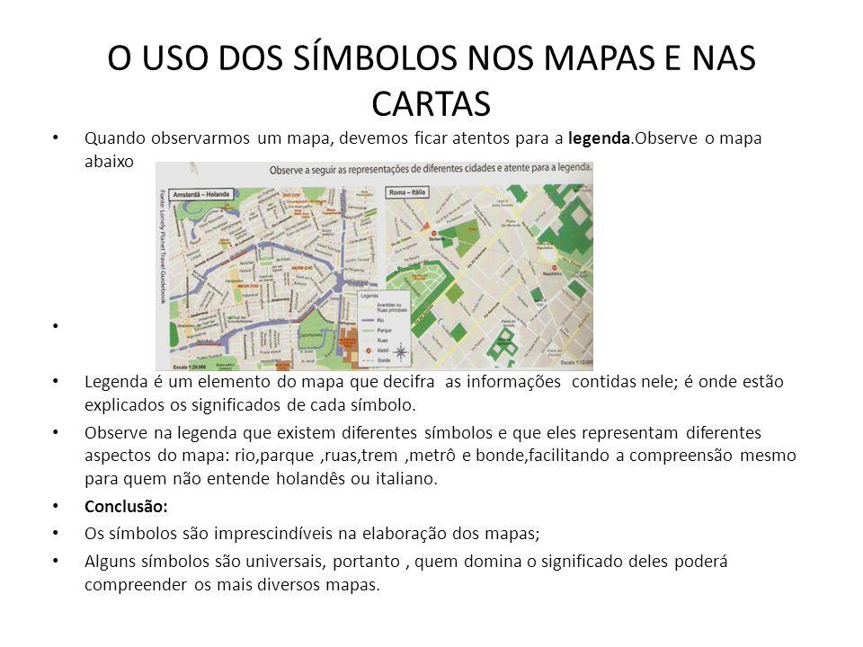 O USO DOS SÍMBOLOS NOS MAPAS E NAS CARTAS