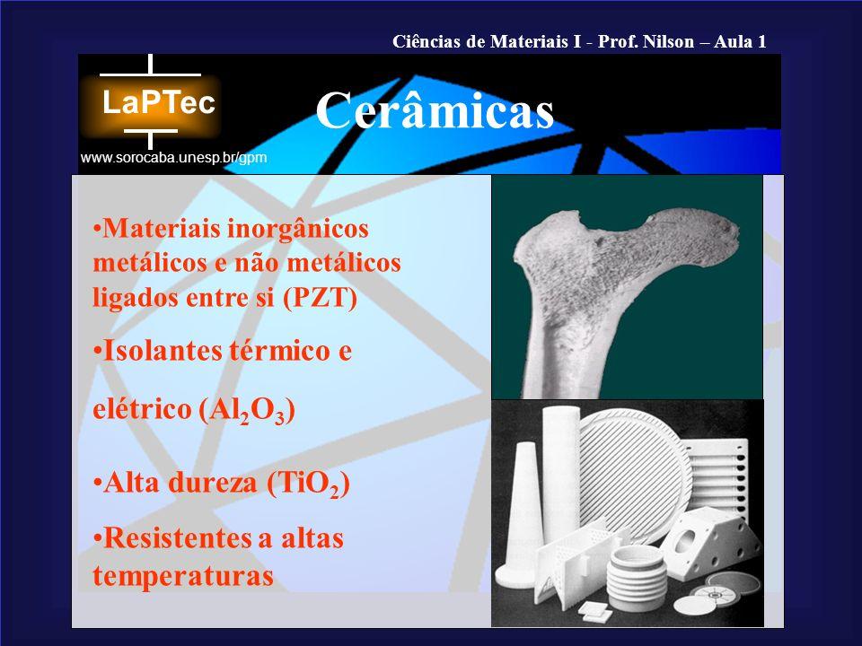 Cerâmicas Isolantes térmico e elétrico (Al2O3) Alta dureza (TiO2)