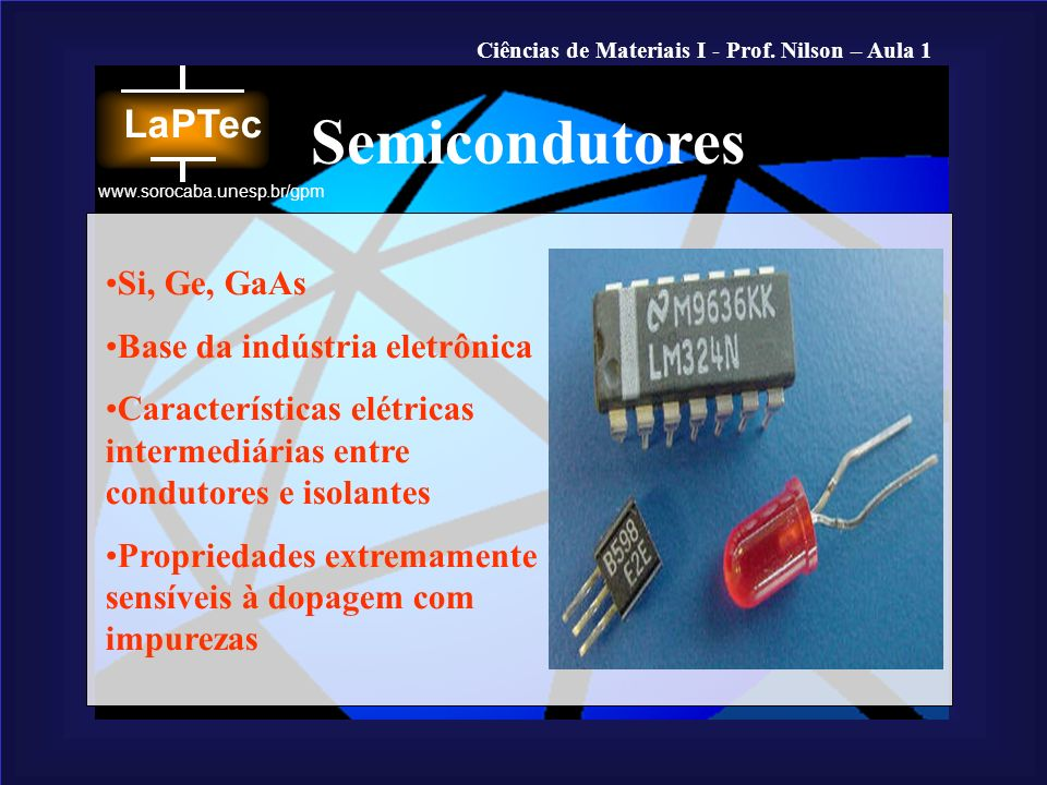 Semicondutores Si, Ge, GaAs Base da indústria eletrônica