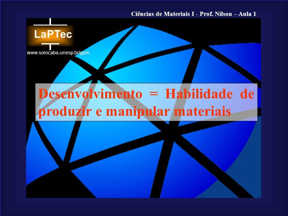 Desenvolvimento = Habilidade de produzir e manipular materiais
