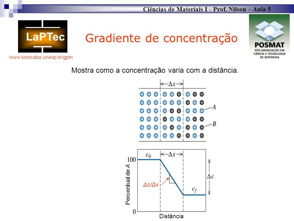 Mostra como a concentração varia com a distância.