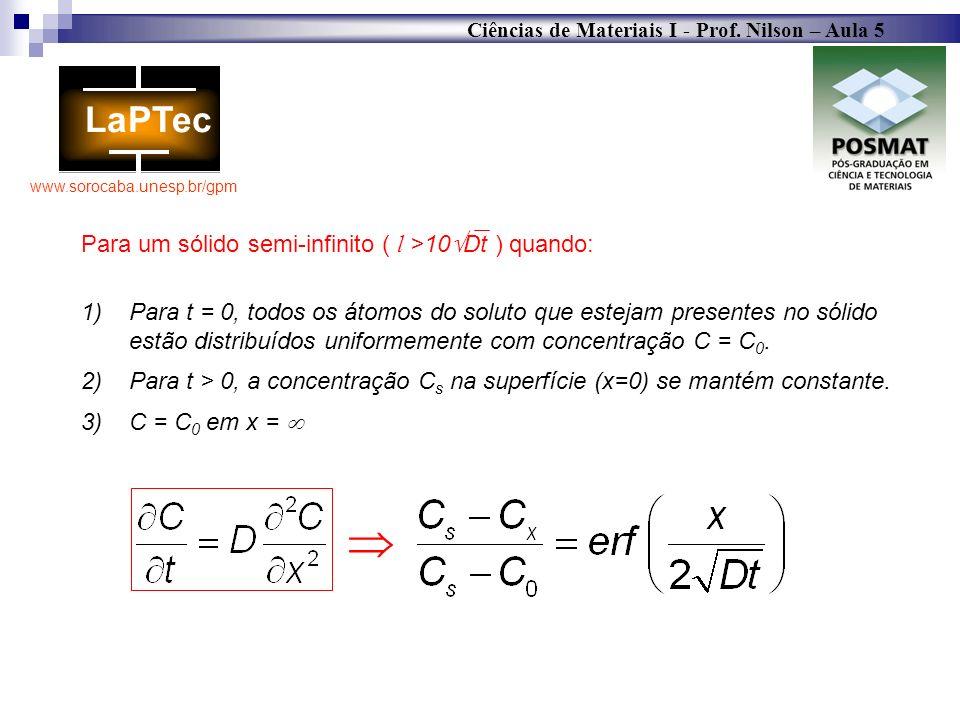  Para um sólido semi-infinito ( l >10Dt ) quando: