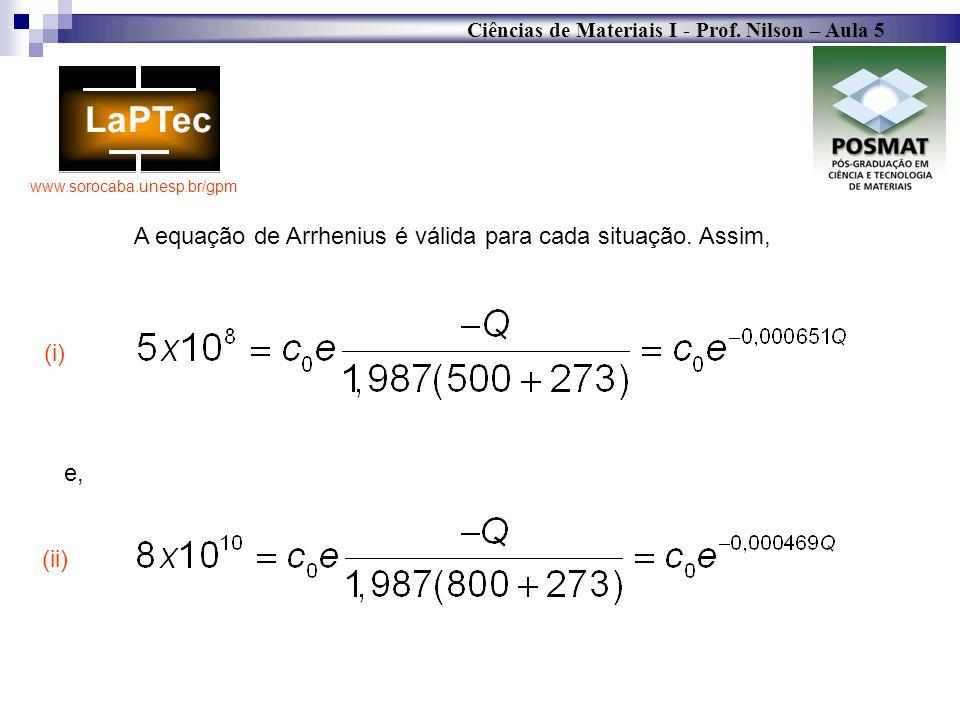 A equação de Arrhenius é válida para cada situação. Assim,
