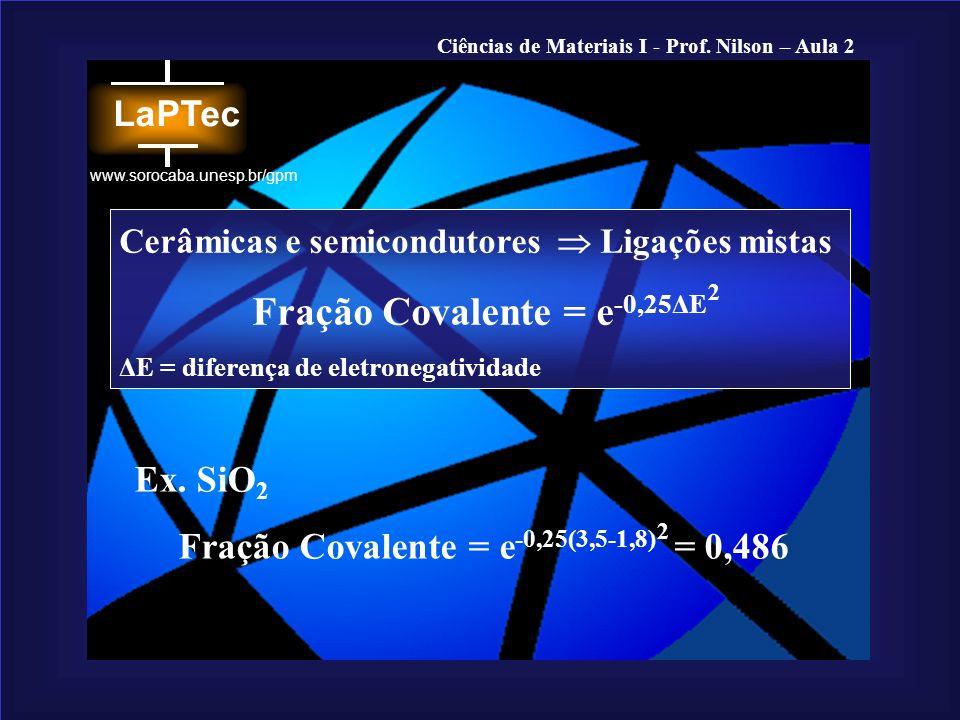 Fração Covalente = e-0,25ΔE Fração Covalente = e-0,25(3,5-1,8) = 0,486