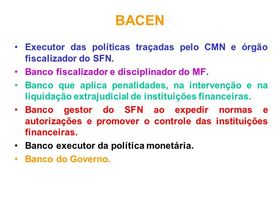 BACEN Executor das políticas traçadas pelo CMN e órgão fiscalizador do SFN. Banco fiscalizador e disciplinador do MF.