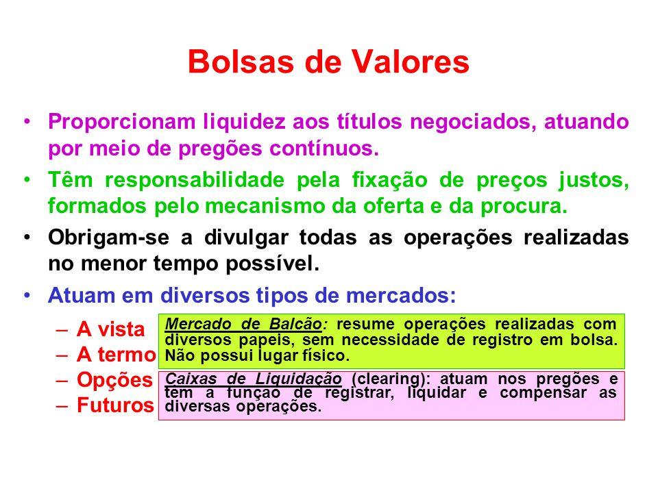 Bolsas de ValoresProporcionam liquidez aos títulos negociados, atuando por meio de pregões contínuos.