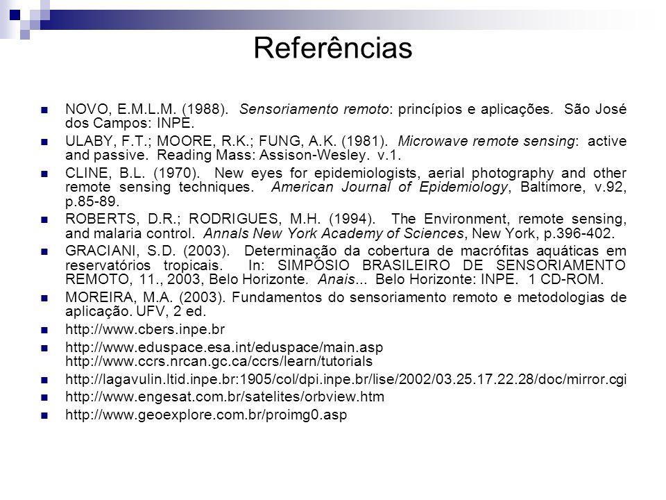 Referências NOVO, E.M.L.M. (1988). Sensoriamento remoto: princípios e aplicações. São José dos Campos: INPE.