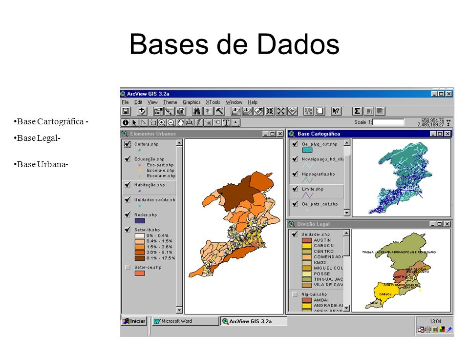 Bases de Dados Base Cartográfica - Base Legal- Base Urbana-