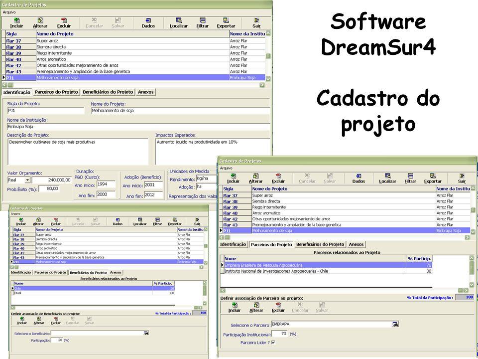 Software DreamSur4 Cadastro do projeto