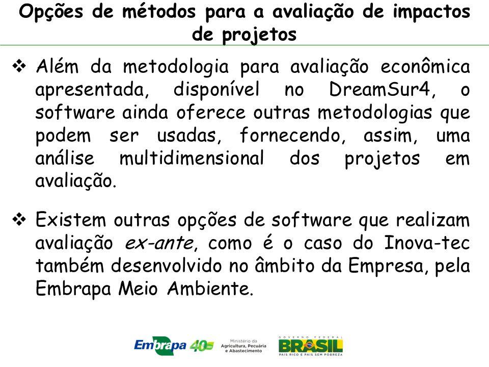 Opções de métodos para a avaliação de impactos de projetos