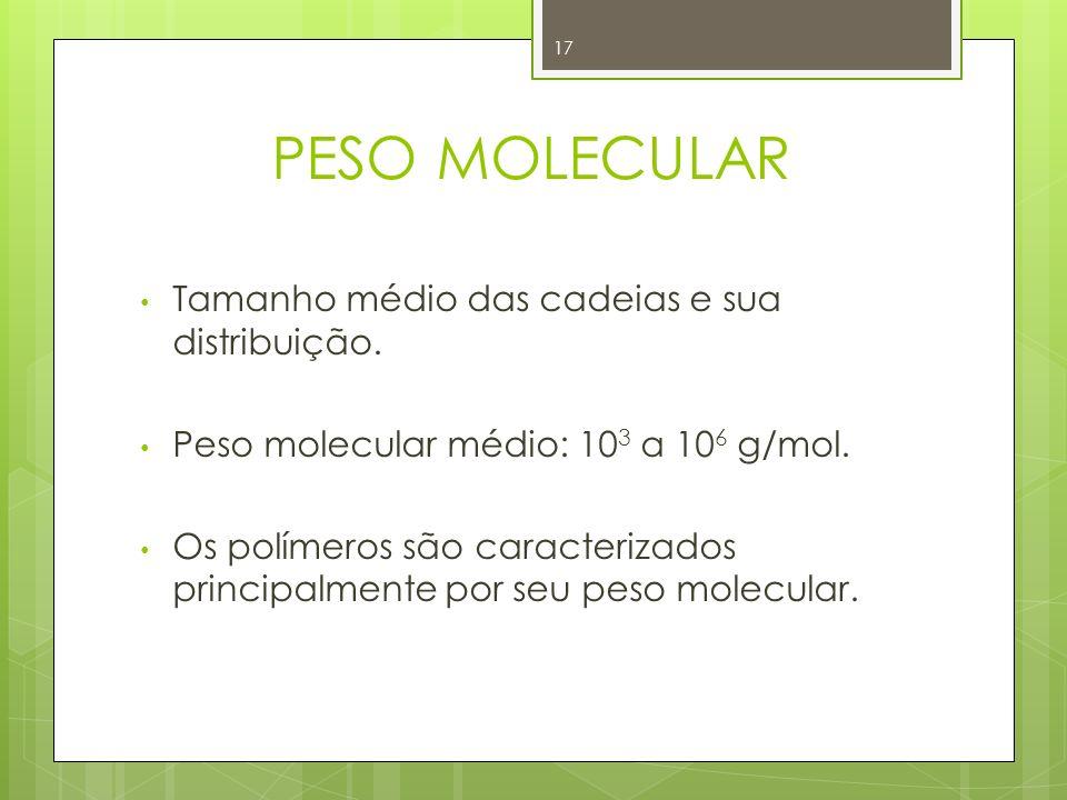 PESO MOLECULAR Tamanho médio das cadeias e sua distribuição.