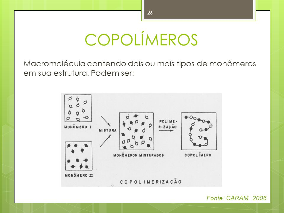 COPOLÍMEROSMacromolécula contendo dois ou mais tipos de monômeros em sua estrutura.