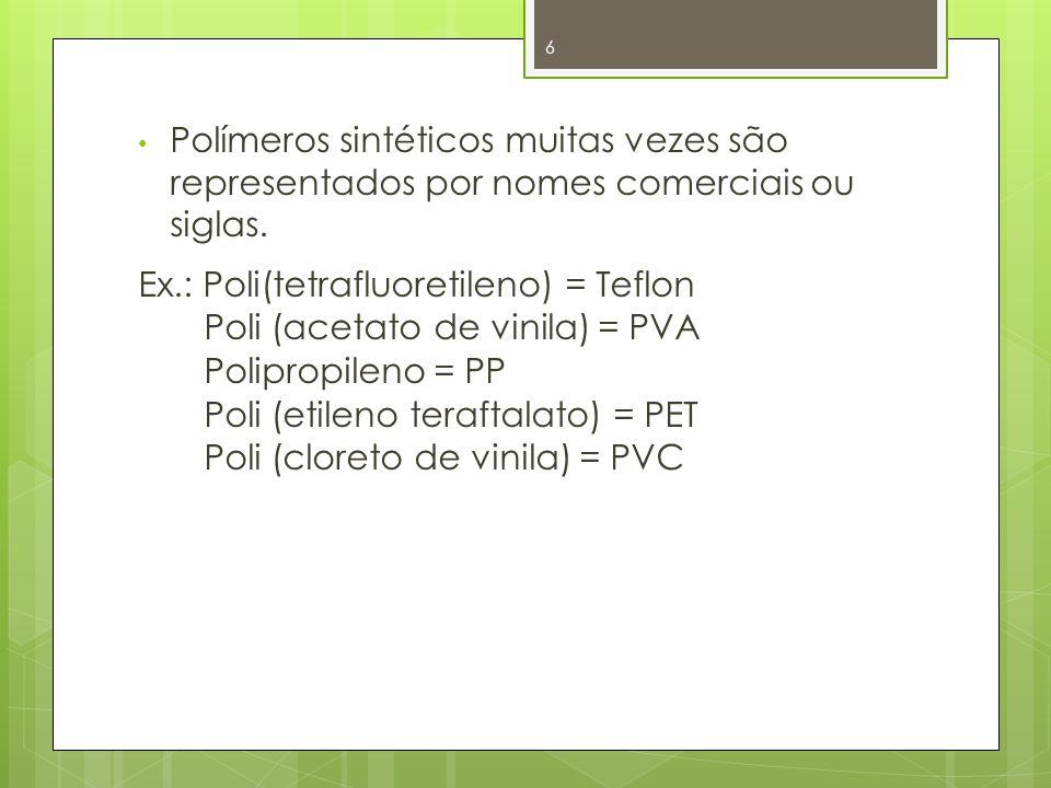 Polímeros sintéticos muitas vezes são representados por nomes comerciais ou siglas.