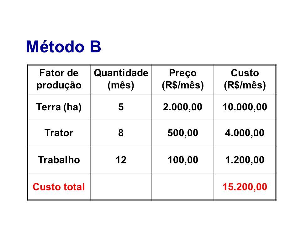 Método B Fator de produção Quantidade (mês) Preço (R$/mês)