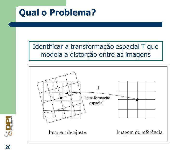 Qual o Problema Identificar a transformação espacial T que modela a distorção entre as imagens