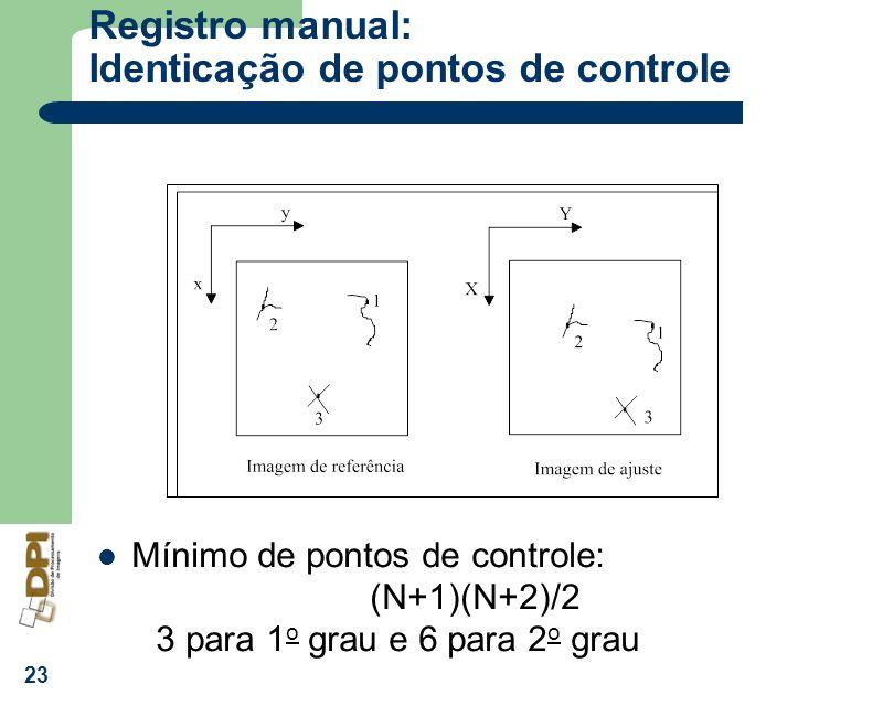 Registro manual: Identicação de pontos de controle