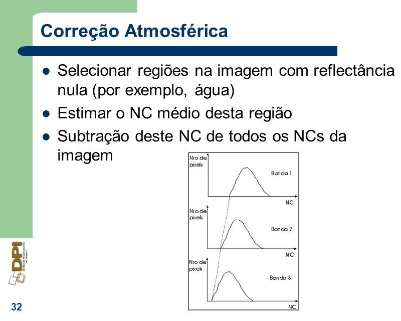 Correção Atmosférica Selecionar regiões na imagem com reflectância nula (por exemplo, água) Estimar o NC médio desta região.