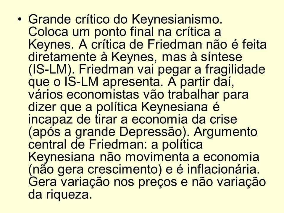 Grande crítico do Keynesianismo