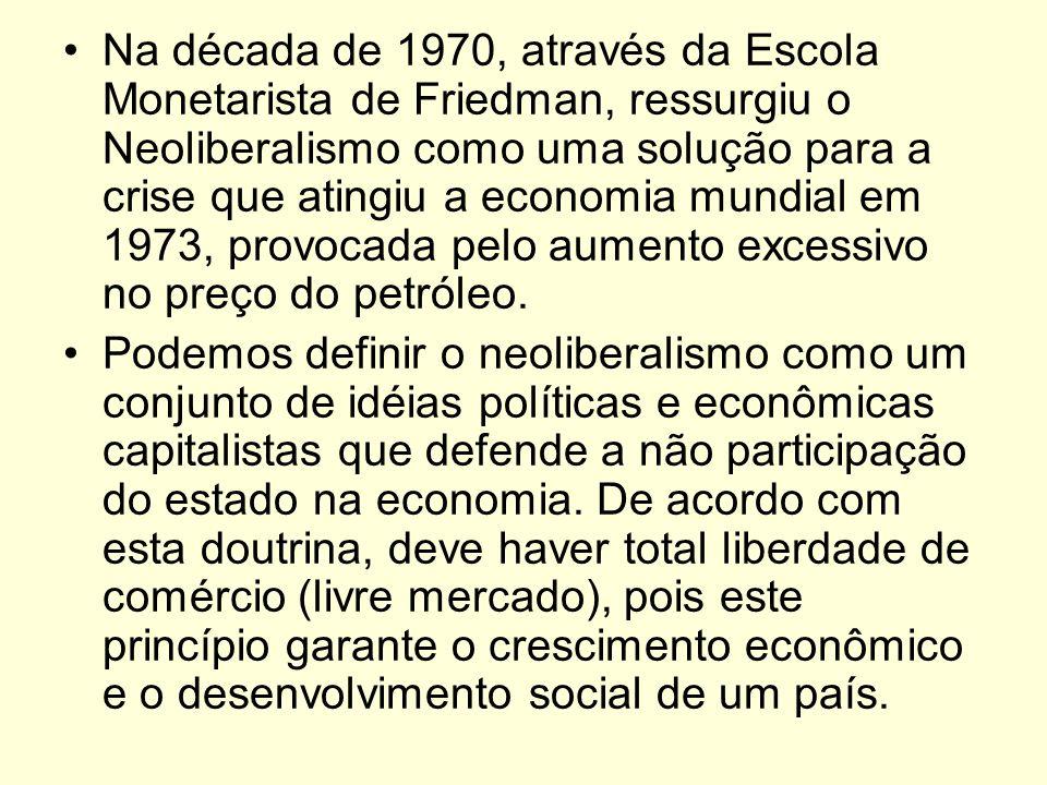 Na década de 1970, através da Escola Monetarista de Friedman, ressurgiu o Neoliberalismo como uma solução para a crise que atingiu a economia mundial em 1973, provocada pelo aumento excessivo no preço do petróleo.