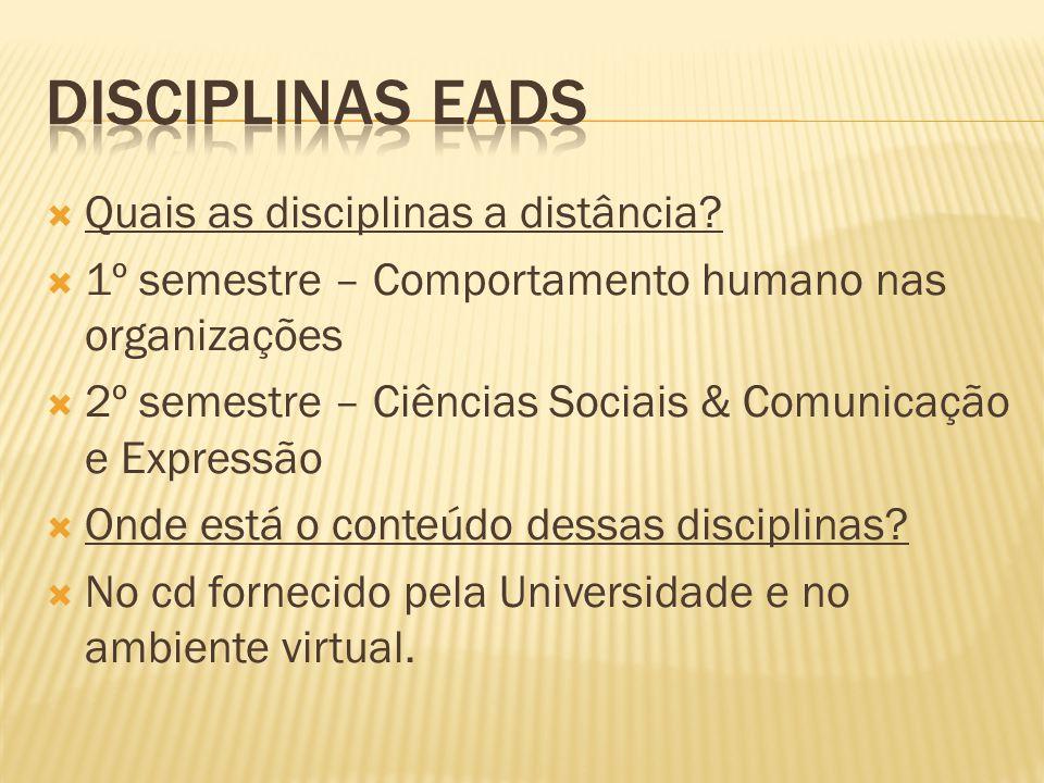 Disciplinas EADs Quais as disciplinas a distância