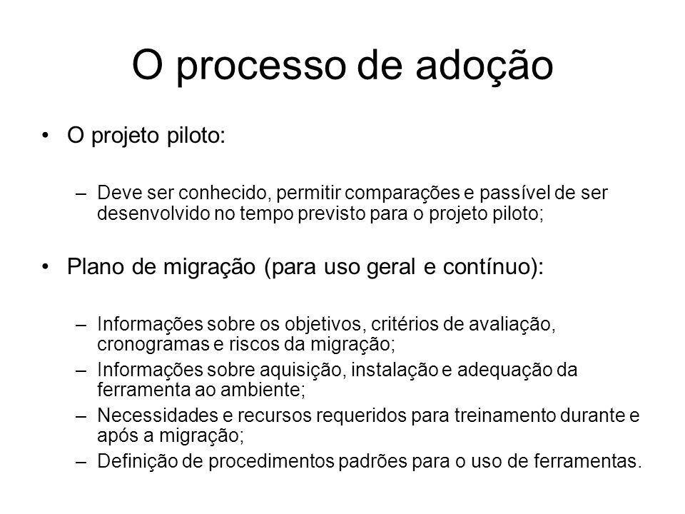 O processo de adoção O projeto piloto: