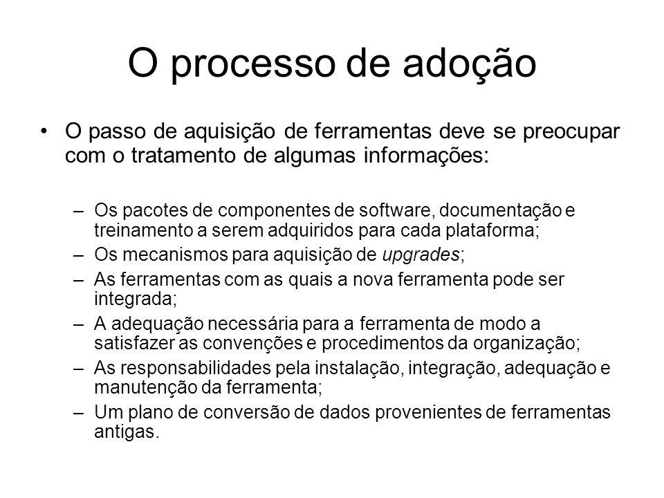 O processo de adoção O passo de aquisição de ferramentas deve se preocupar com o tratamento de algumas informações: