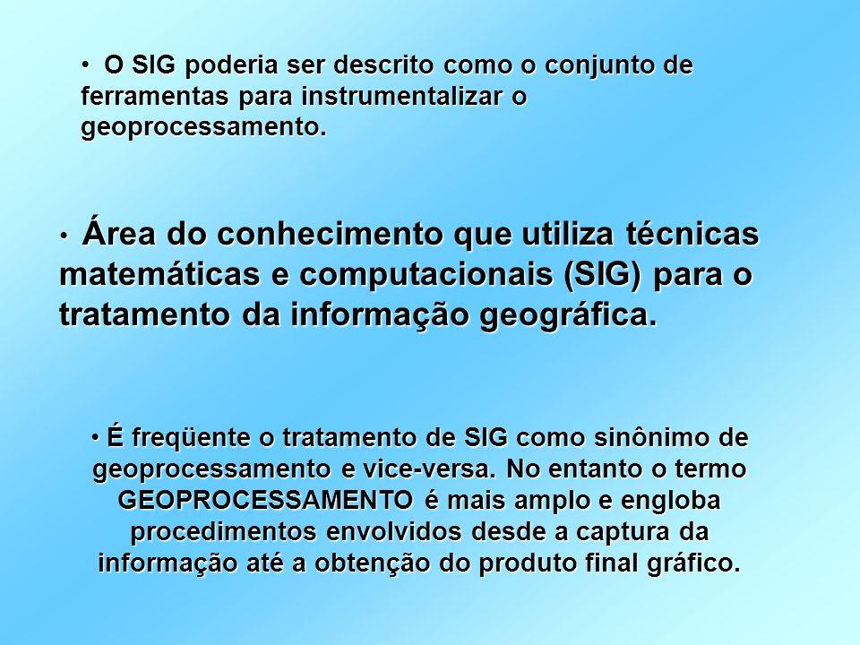 O SIG poderia ser descrito como o conjunto de ferramentas para instrumentalizar o geoprocessamento.