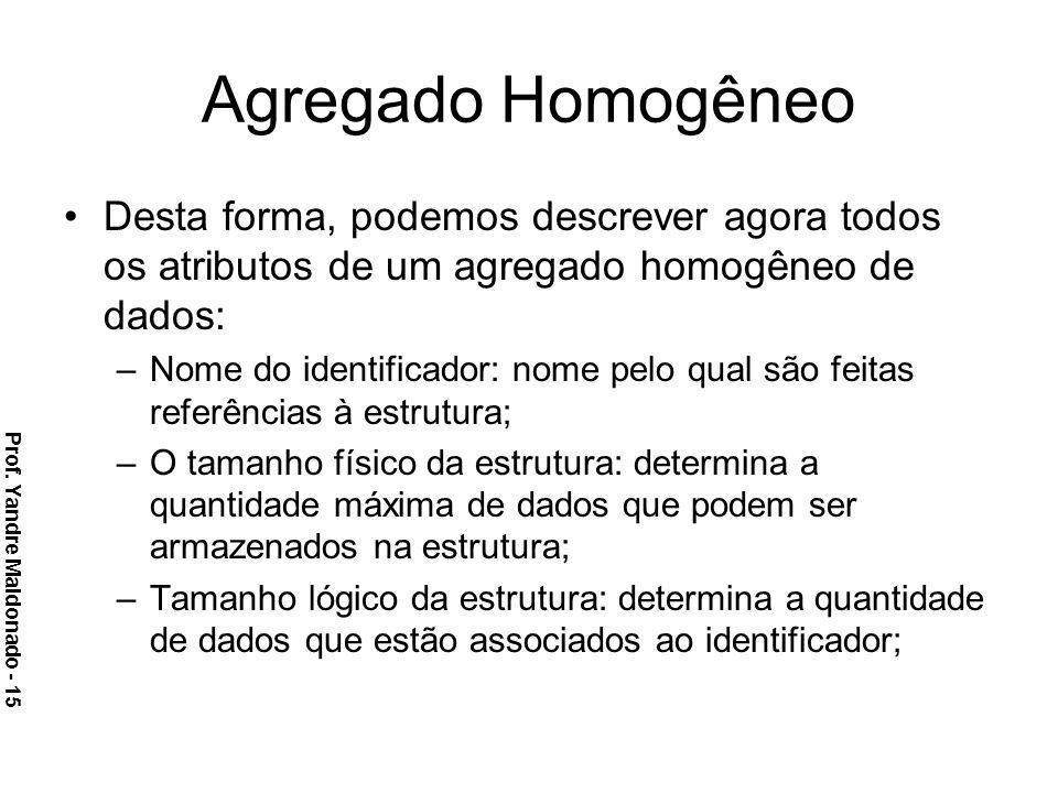 Agregado Homogêneo Desta forma, podemos descrever agora todos os atributos de um agregado homogêneo de dados: