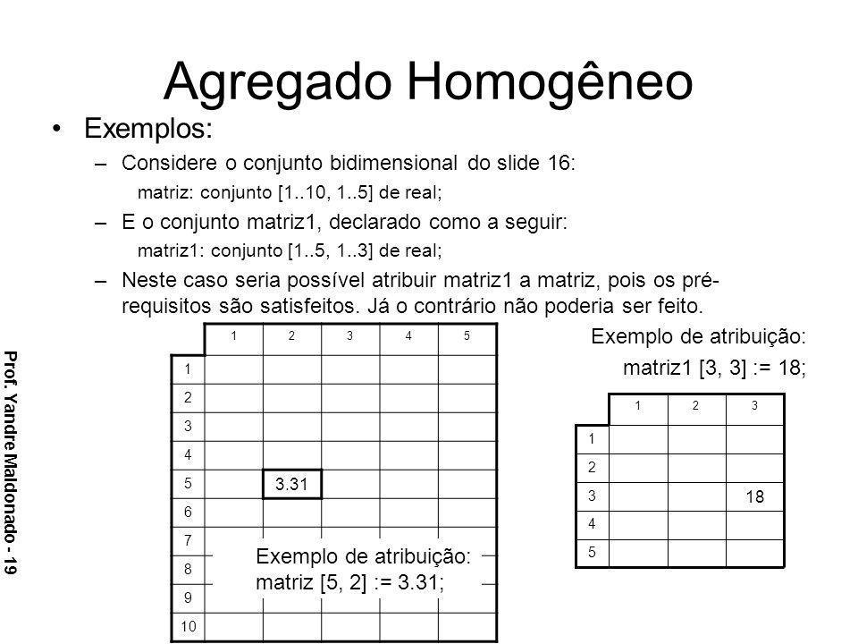 Agregado Homogêneo Exemplos: