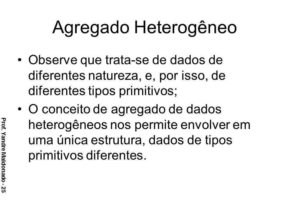 Agregado Heterogêneo Observe que trata-se de dados de diferentes natureza, e, por isso, de diferentes tipos primitivos;