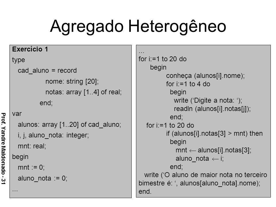 Agregado Heterogêneo Exercício 1 type cad_aluno = record